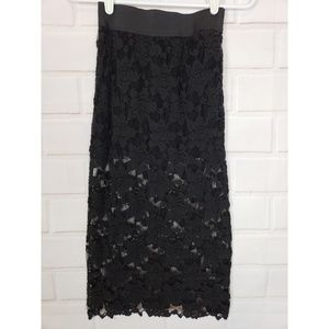 Free People Black Lace Floral Pencil Skirt Size S